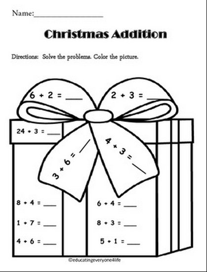math worksheet : christmas themed math worksheets first grade  math practice  : Free Christmas Math Worksheets